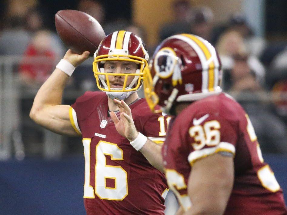 Washington Redskins quarterback Colt McCoy (16) throws a fourth-quarter pass during the Washington Redskins vs. the Dallas Cowboys NFL football game at AT&T Stadium in Arlington on Sunday, January 3, 2016.