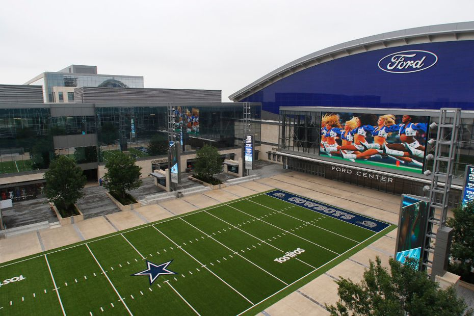 The Plaza and the Ford Center can be seen from the pool deck on Wednesday, April 26, 2017. The 16-story Omni Frisco Hotel, opening July 2017, will serve as the cornerstone hotel of The Star development, which is anchored by the Dallas Cowboys World Headquarters. (David Woo/The Dallas Morning News)