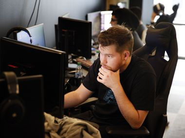 "Dallas Empire's Ian ""Crimsix"" Porter, a Call of Duty League player, prepares for practice in their new Dallas offices in Victory Park, Wednesday, January 15, 2020. The team of 7 began practice this week in anticipation of the Jan. 24 season opener. (Tom Fox/The Dallas Morning News)"