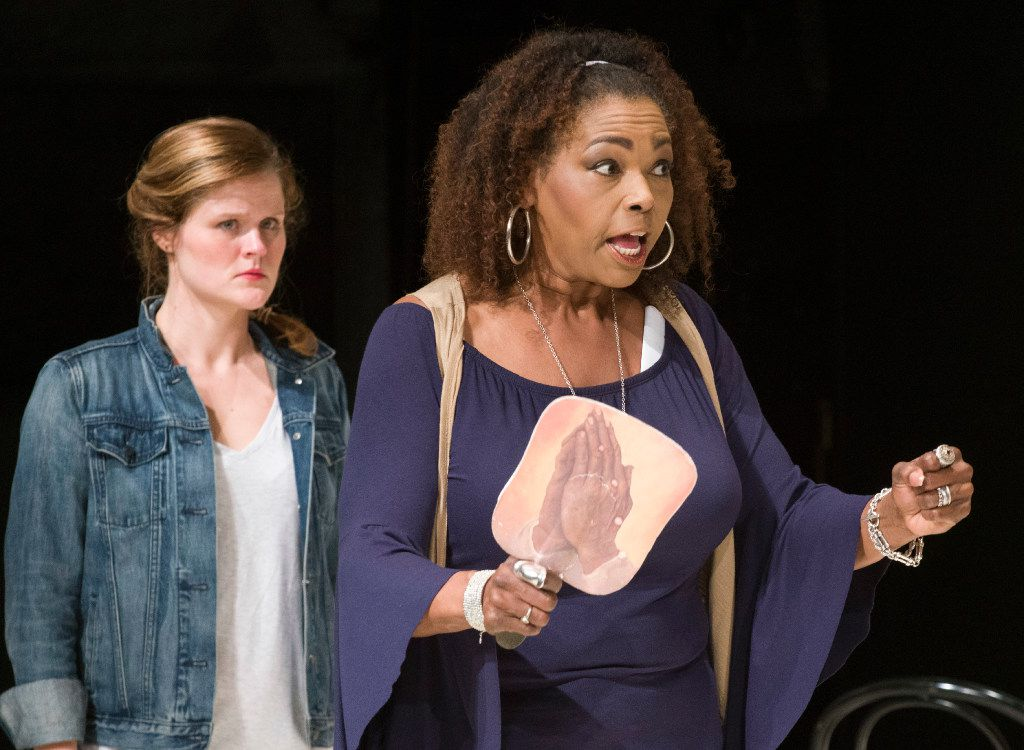Liz Mikel (right) plays a lawyer in a cross-racial and cross-gender casting of Inherit the Wind, directed by Kevin Moriarty for the Tony Award-winning Dallas Theater Center at the Kalita Humphreys Theater in Dallas.