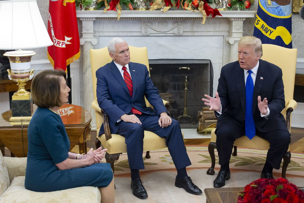 President Donald Trump and Vice President Mike Pence met with House Speaker-designate Nancy Pelosi and Senate Minority Leader Chuck Schumer (not pictured), in the Oval Office of the White House on Dec., 1. Trump, Pelosi and Schumer had a disagreement on border policy and shutting down the government.