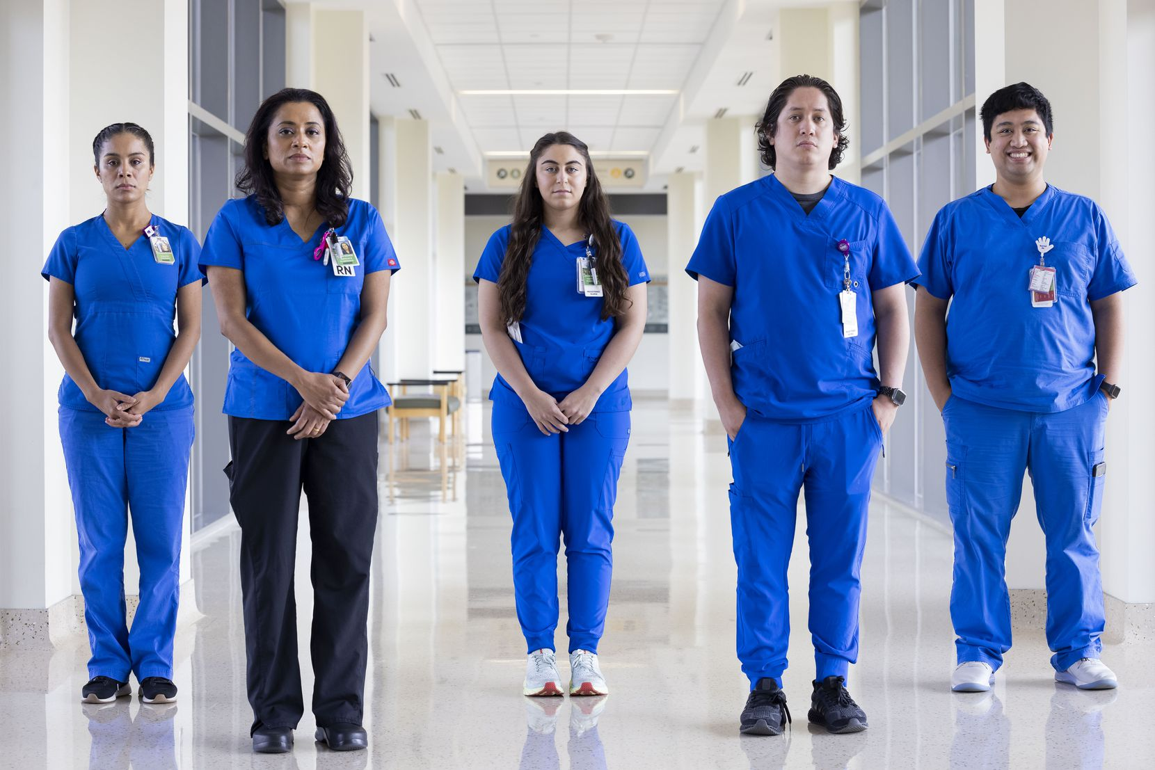 Among the hundreds of Parkland nurses on the front lines of the COVID-19 fight are (from left) charge nurses Perla Sanchez-Perez, Anitha George, Jaycie Martinez, Angel Marrufo and Jan Noguerra.