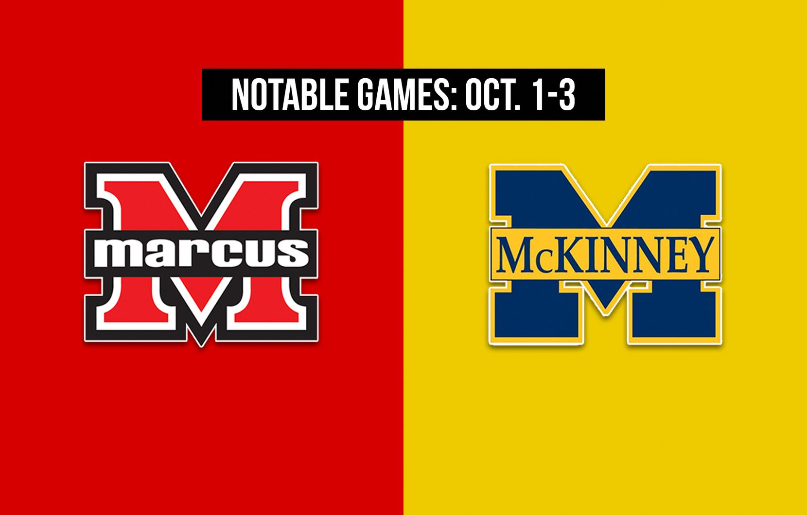 Notable games for the week of Oct. 1-3 of the 2020 season: Flower Mound Marcus vs. McKinney.