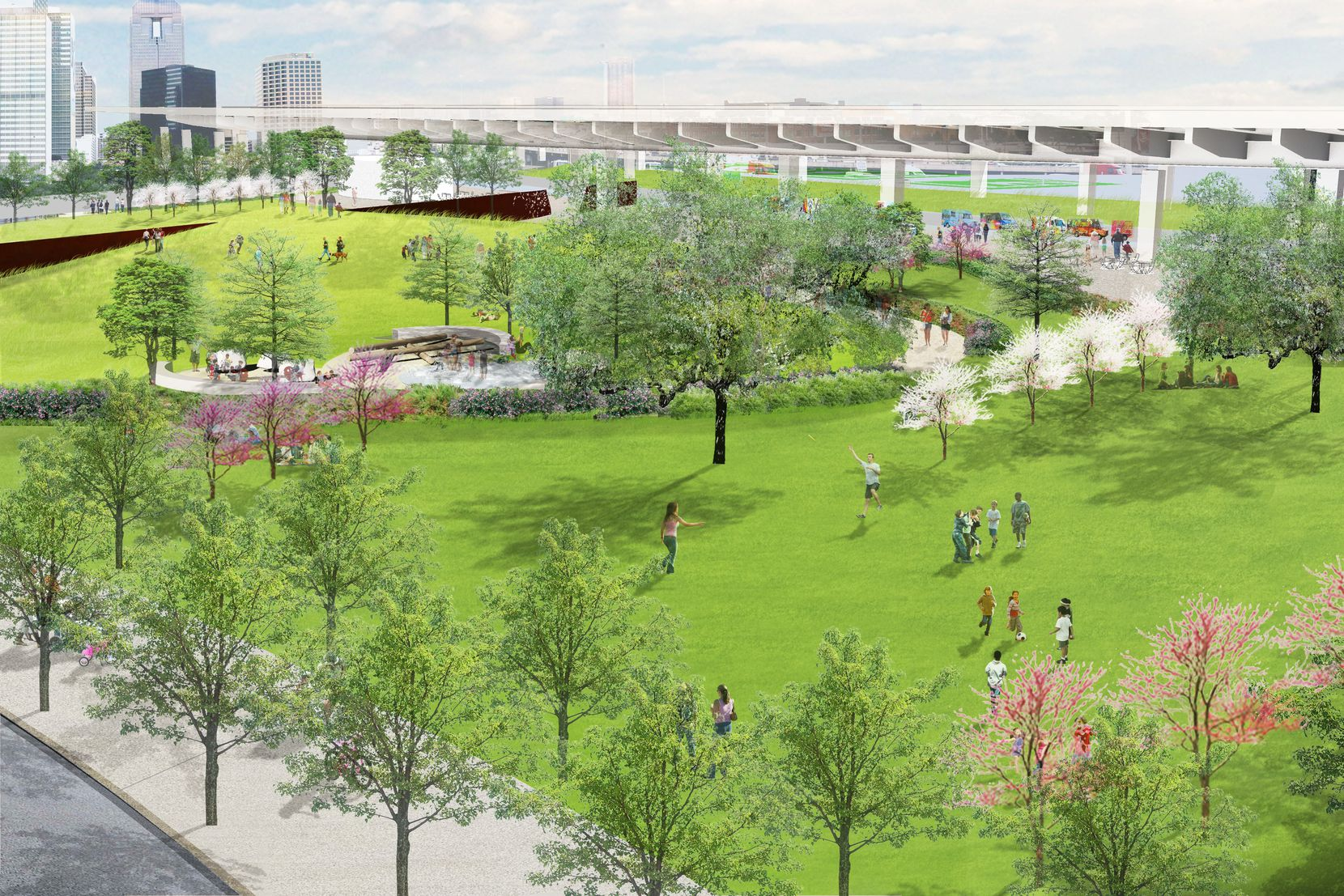 This rendering by landscape architect Hargreaves Jones shows the lawn area of Carpenter Park and looks east toward I-345. As seen in the left side of the rendering, the Portal Park Piece artwork will be reinstalled to run east-west, symbolizing the connection between downtown and its east-side neighborhoods.
