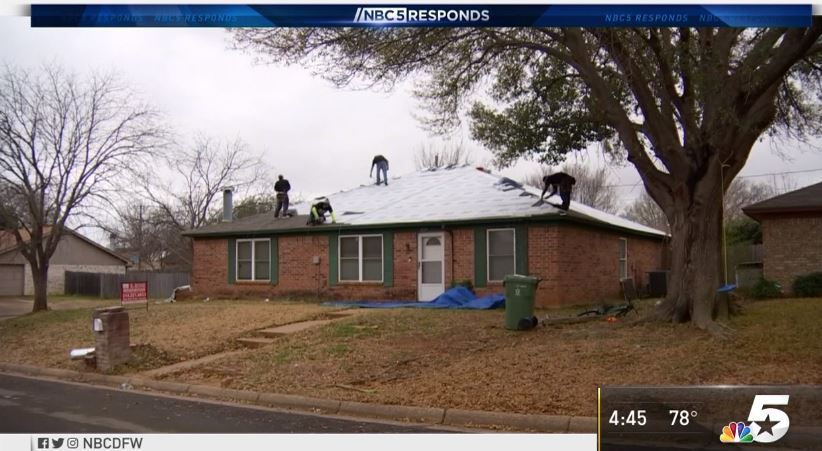 Roofers atop the home of Arlington homeowner Joe Dickens. He was a victim of a giant roofing scam in Dallas, Arlington and Fort Worth. But then a secret donor found out and decided to help.