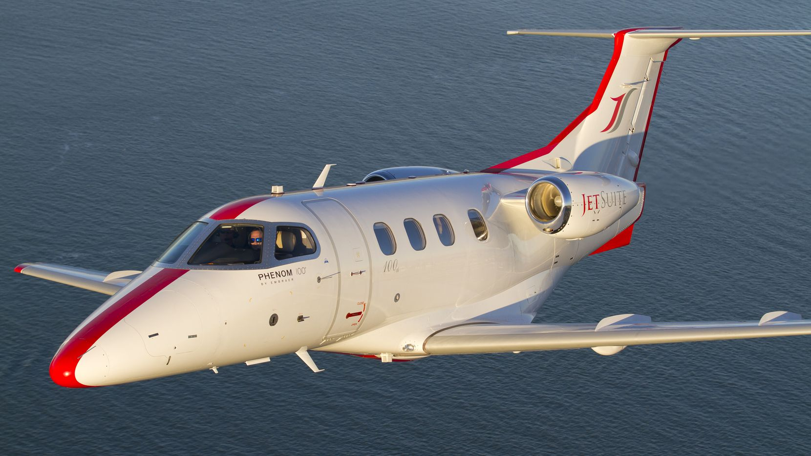 A Phenom 100 jet flown by JetSuite, which provided charters and on-demand flights to upscale travelers.
