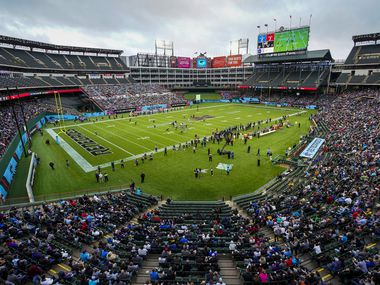 The St. Louis Battlehawks face off against the Dallas Renegades in an XFL football game at Globe Life Park on Sunday, Feb. 9, 2020, in Arlington.