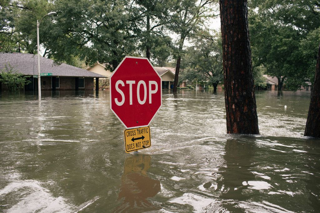 Flood waters cover the Meyerland neighborhood of Houston. The National Flood Insurance Program, already $25 billion in debt, probably will face billions more in claims related to Hurricane Harvey.