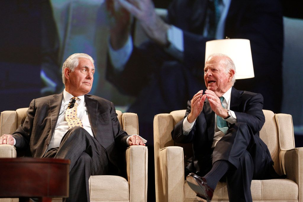 Former Secretaries of State Rex Tillerson (left) and James Baker spoke Tuesday during a Dallas Citizens Council meeting.