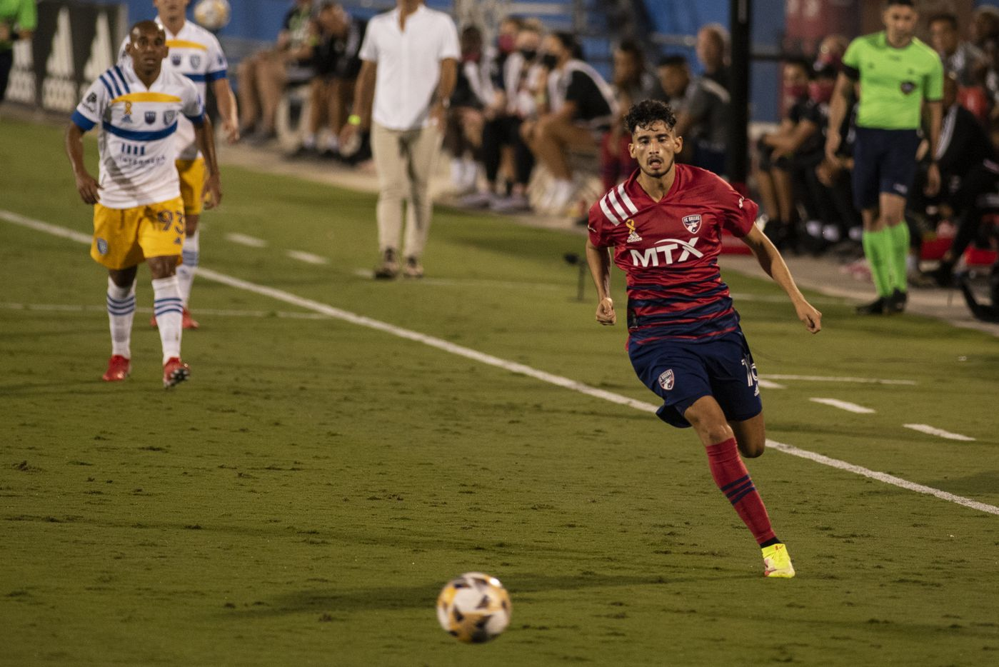 FC Dallas forward Ricardo Pepi (16) races down the field with the ball during FC DallasÕ home game against the San Jose Earthquakes at Toyota Stadium in Frisco, Texas on Saturday, September 11, 2021. (Emil Lippe/Special Contributor)