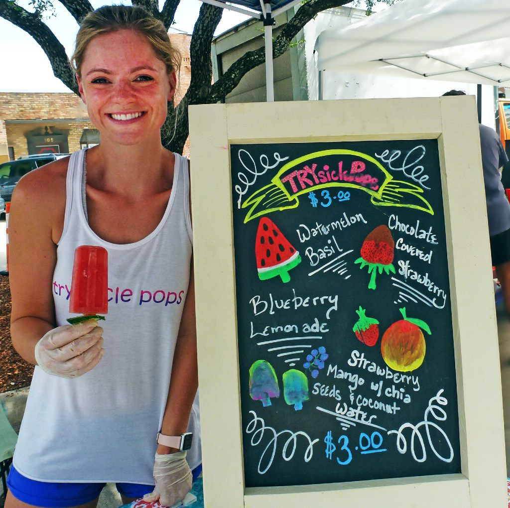 Heather Williams makes her Trysicle Pops at home  five minutes away  from Rockwall Farmers Market. Her signature: a cucumber slice at the bottom to catch the drips.