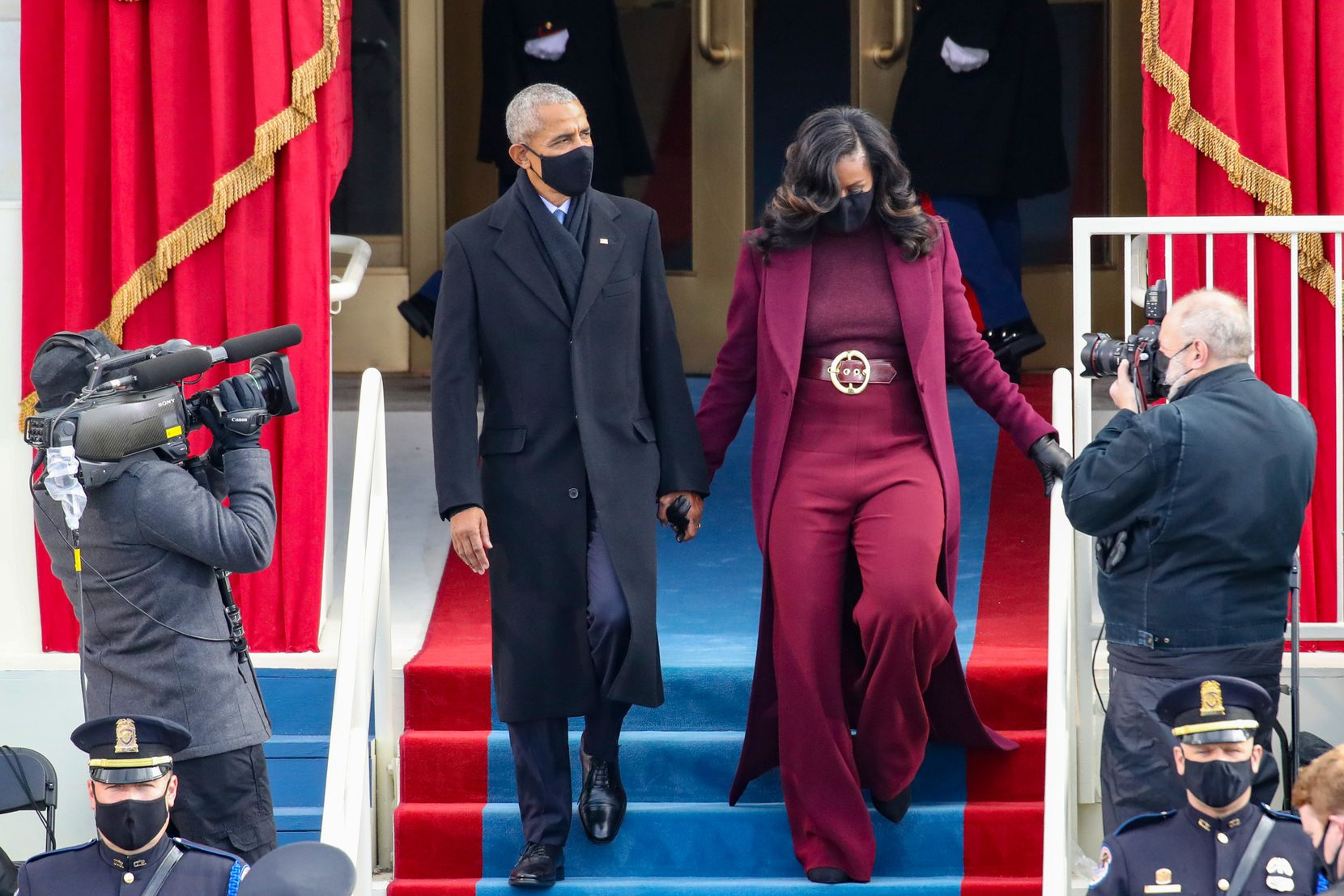 Former U.S. President Barack Obama and former first lady Michelle Obama arrive at the inauguration of U.S. President-elect Joe Biden on Jan. 20.