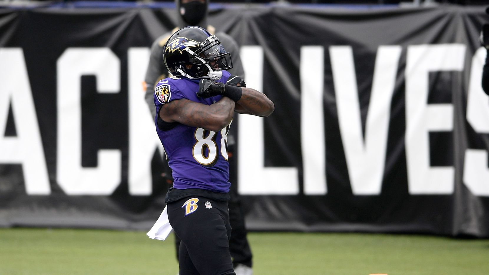 Baltimore Ravens wide receiver Dez Bryant reacts after scoring a touchdown against the Jacksonville Jaguars during the first half of an NFL football game, Sunday, Dec. 20, 2020, in Baltimore.