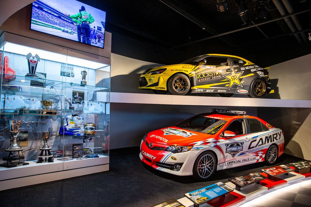 Toyotas -- including a Toyota Camry official Daytona 500 pace car (below) -- are featured during the grand opening of the Toyota Experience Center at the Toyota North American headquarters in Plano, Texas, on Wednesday, Aug. 7, 2019. The center is the motor company's first and only comprehensive museum space. (Lynda M. Gonzalez/The Dallas Morning News)