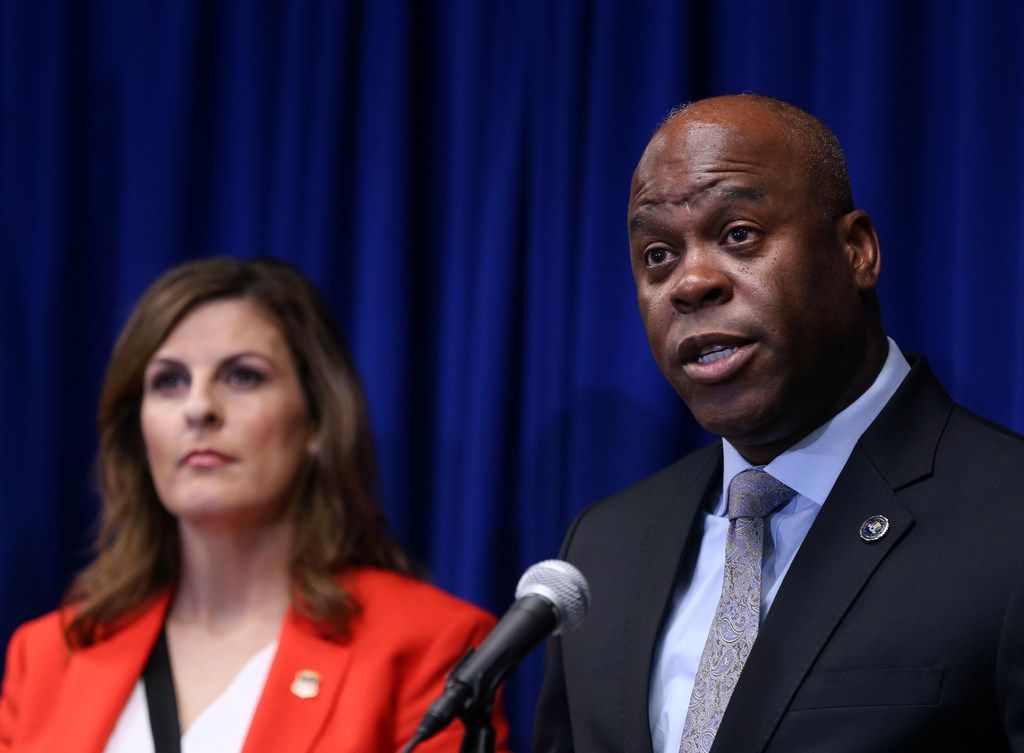 Eric Jackson, FBI Dallas special agent-in-charge, speaks during a news conference at the Earle Cabell Federal Building and Courthouse in Dallas.