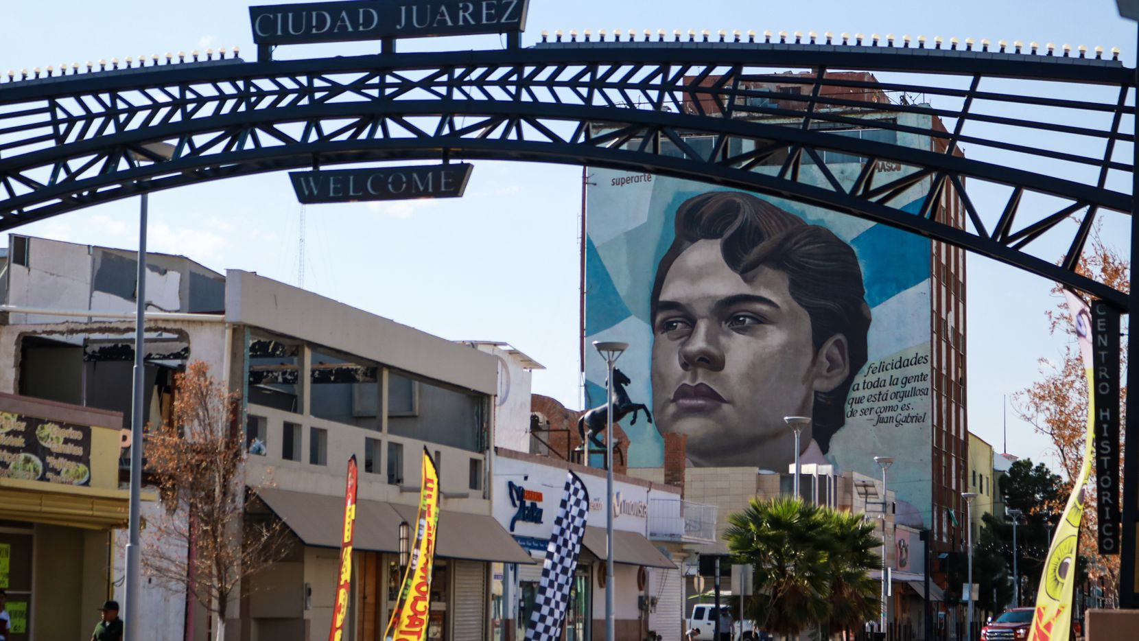 A mural of Juan Gabriel appears on the side of a building on Avenida Juárez, near the former location of Noa Noa, the bar where the artist's musical career began in Ciudad Juárez, Mexico.