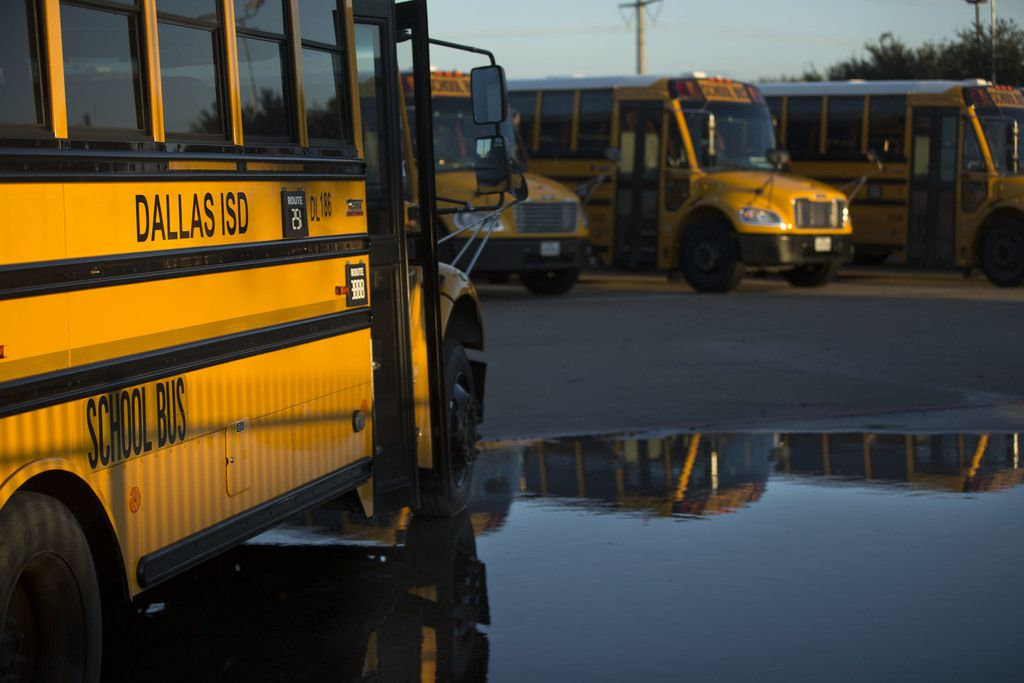 Buses in a DISD parking lot. (Daniel Carde / DMN)
