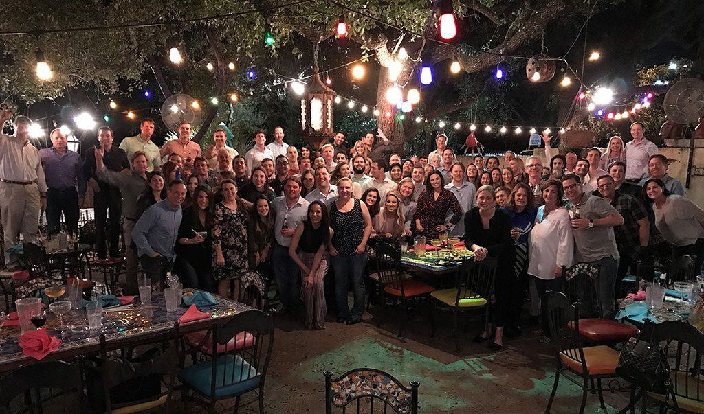 FOR TOP 100: Edge Realty Partners holds a company retreat every year. In 2017, it was held at La Cantera Resort & Spa in San Antonio. This shot was taken at a group dinner at El Chapparal in Helotes.