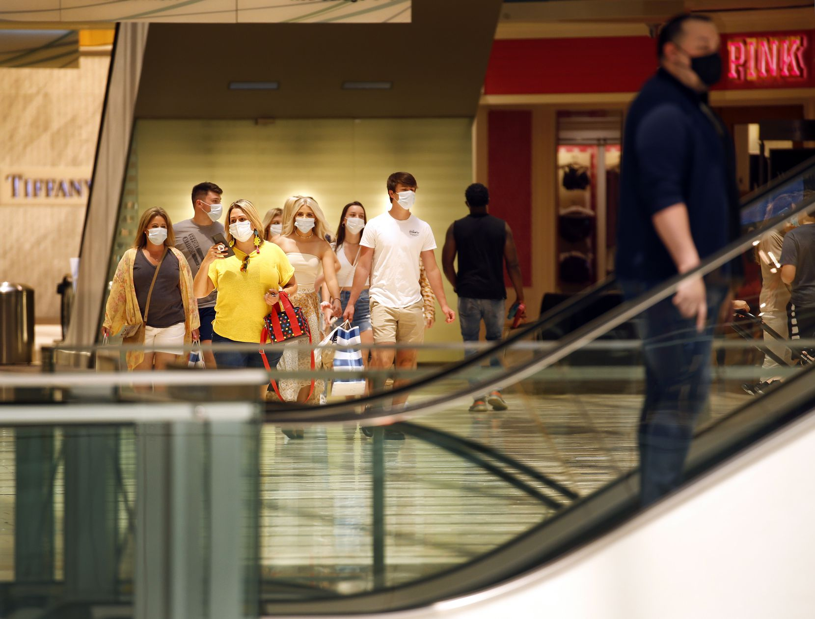 A group of young shoppers from Colorado shopped at the Galleria Dallas, Friday, June 5, 2020. Shoppers returned to the center after being closed this week in the wake of looting that stemmed from the protests over George Floyd's in-police custody death.