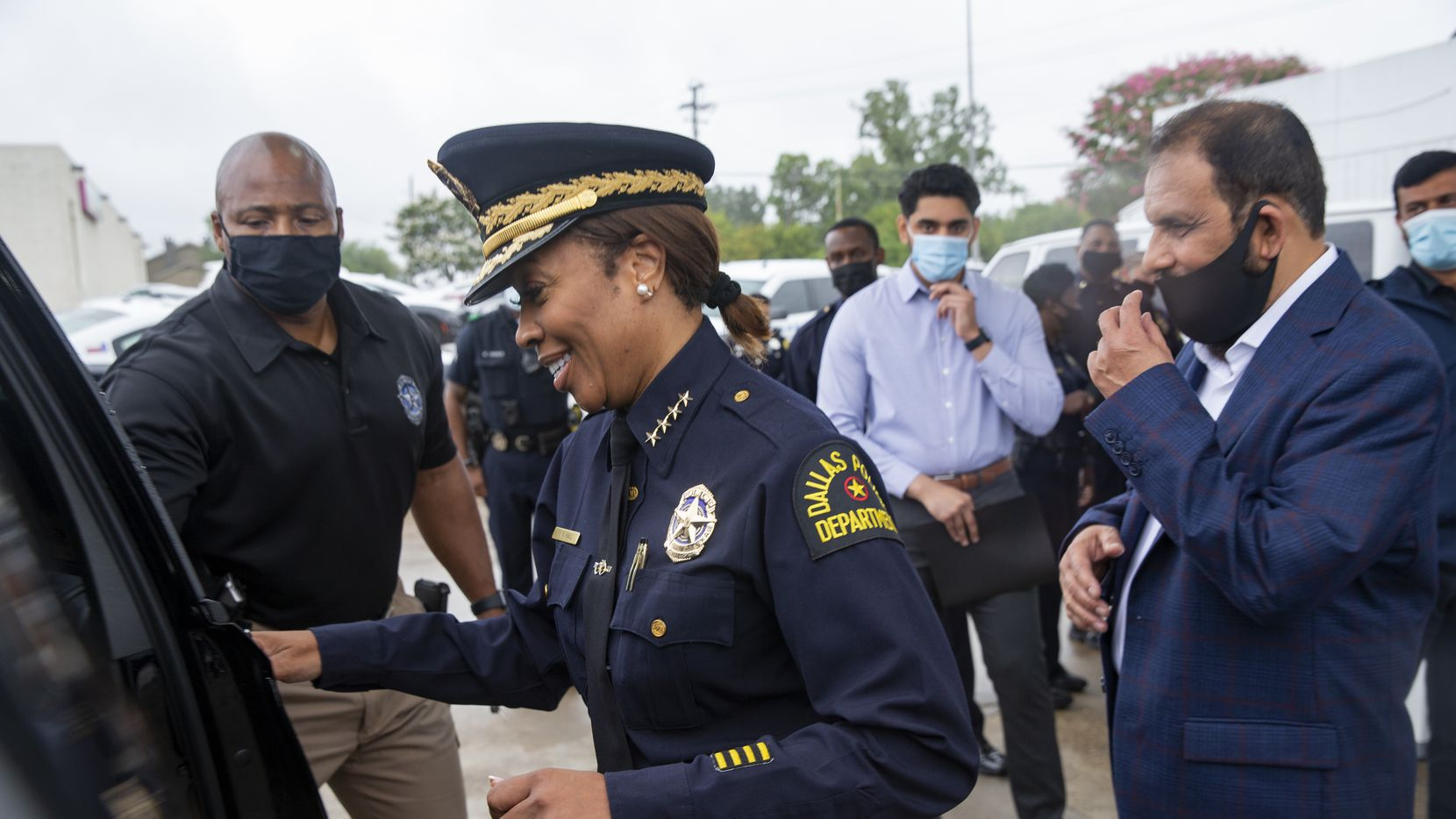 Dallas Police Chief U. Reneé Hall gets in her car following a press conference about the expansion of their camera-monitoring pilot program called Starlight at a Chevron Gas Station at 9791 Forest Lane on Tuesday, Sept. 22, 2020 in Dallas. Mayor Eric Johnson is a strong proponent of the police department, opposing any cuts to its budget.