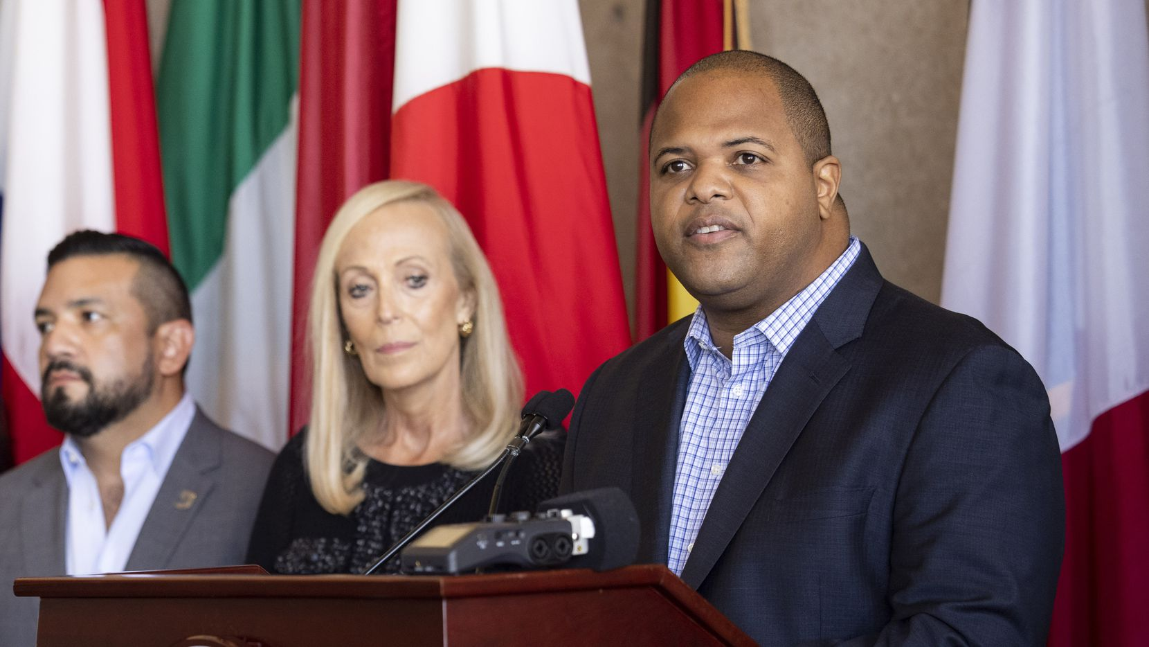 Mayor Eric Johnson speaks about the creation of his Anti-Hate Advisory Council on Wednesday, Sept. 15, 2021, at City Hall in Dallas. (Juan Figueroa/The Dallas Morning News)