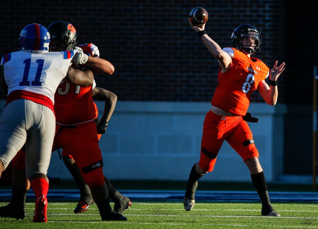 Rockwall quarterback Braedyn Locke (8) fires off a pass during the second half of a Class 6A Division I state semifinal football matchup between Rockwall and Duncanville on Saturday, Dec. 14, 2019 at McKinney ISD Stadium in McKinney, Texas. (Ryan Michalesko/The Dallas Morning News)