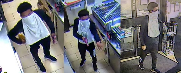 Surveillance camera images of a suspect wanted in an aggravated robbery incident at a far northeast Dallas convenience store on July 9, 2020.