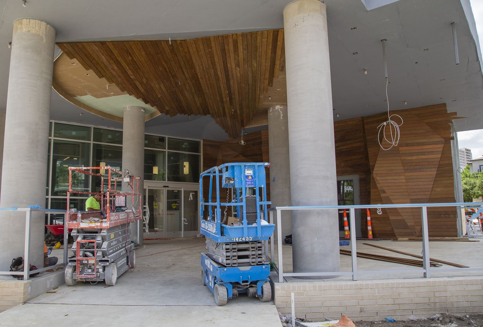 Work on the entrance of the Tom Thumb, which is set to open this fall.