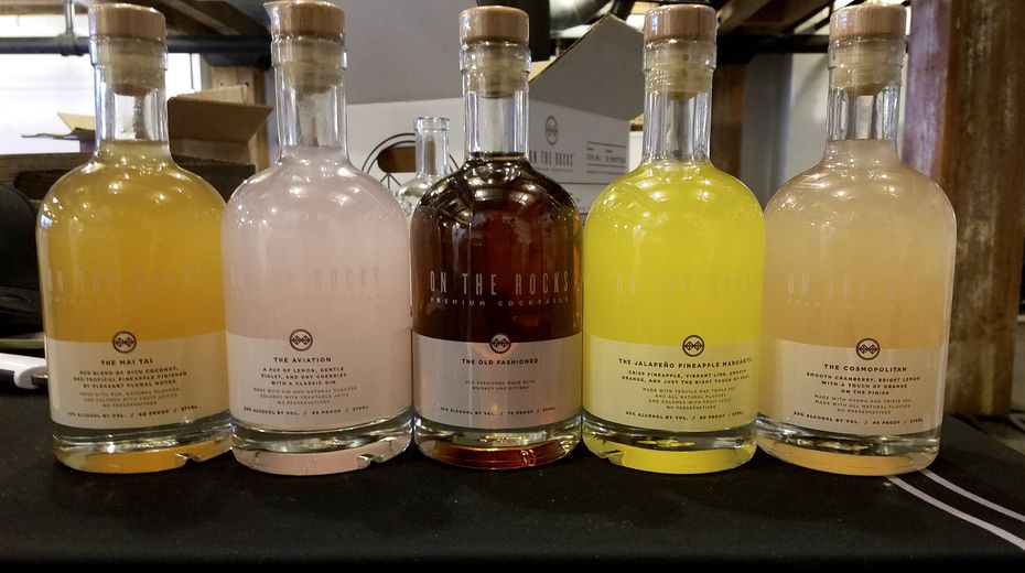 A lineup of OTR's bottled cocktails from 2017, in the days before Beam Suntory acquired minority interest and brand names were reflected on their labels.