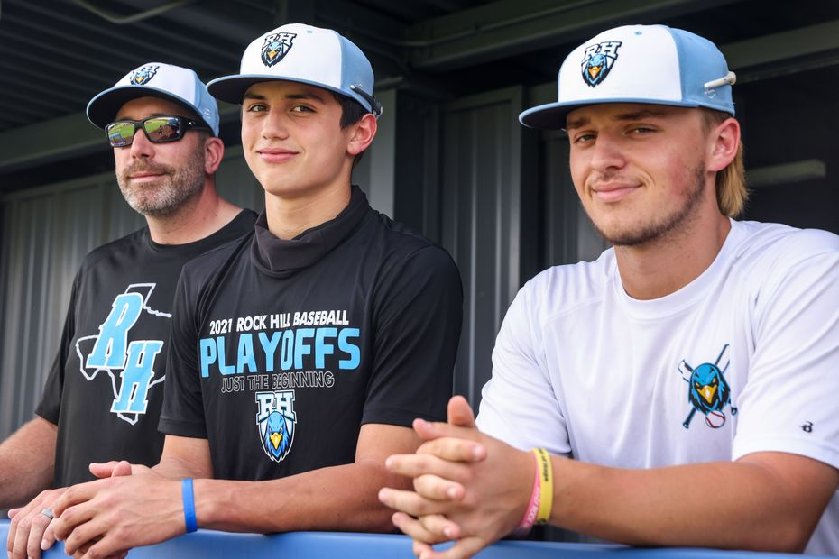 Varsity baseball coach Shaun Stanton, left, and players Brenner Cox, and Josh Livingston pose for a portrait during an after school practice at the Rock Hill High School baseball field in Frisco on Wednesday, May 19, 2021. Their team is now in the regional quarterfinals.