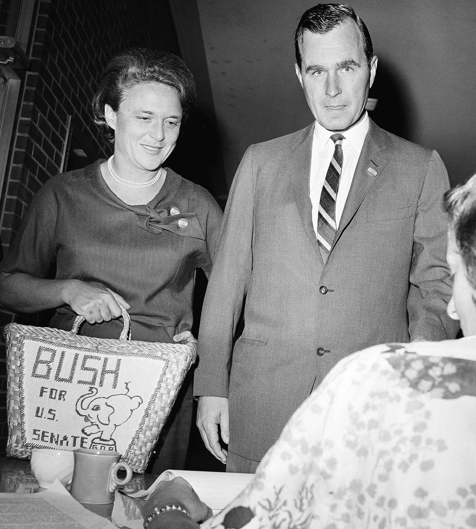 George H. W. Bush and his wife Barbara cast their votes in Houston for the 1964 Texas Senate primary race, as Bush sought to win the primary over opponent Jack Cox before facing Democratic Sen. Ralph Yarborough in the November general election.