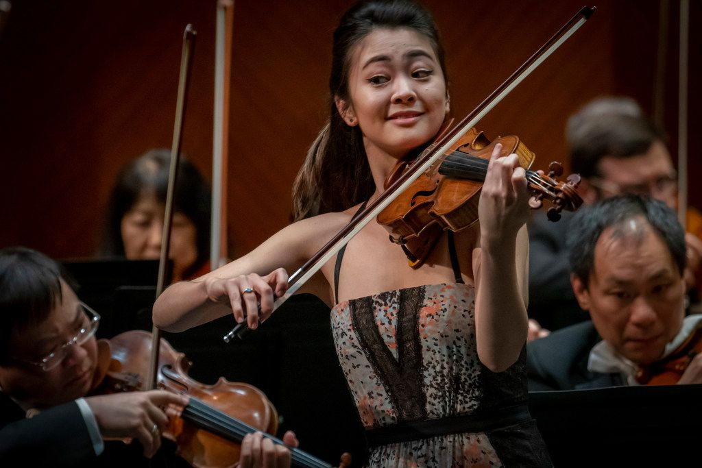 Violinist Simone Porter performs Bruch's Violin Concerto in G minor with the Fort Worth Symphony Orchestra and guest conductor Andrew Grams at Bass Performance Hall on February 1, 2019 in Fort Worth, Texas.