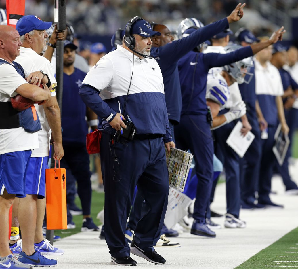 Dallas Cowboys head coach Mike McCarthy watches game action during the first half of a NFL football game between the Dallas Cowboys and the Philadelphia Eagles High at AT&T Stadium in Arlington on Monday, September 27, 2021. (John F. Rhodes / Special Contributor)
