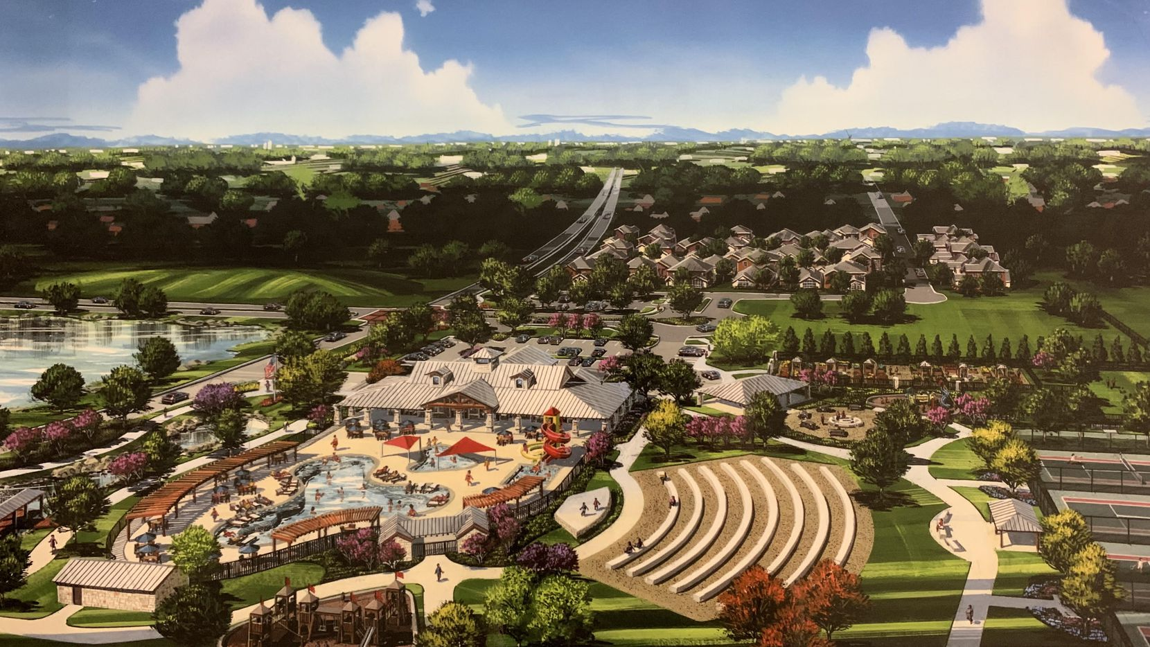 The amenity center in the 1,400-acre Green Meadows community is under construction.