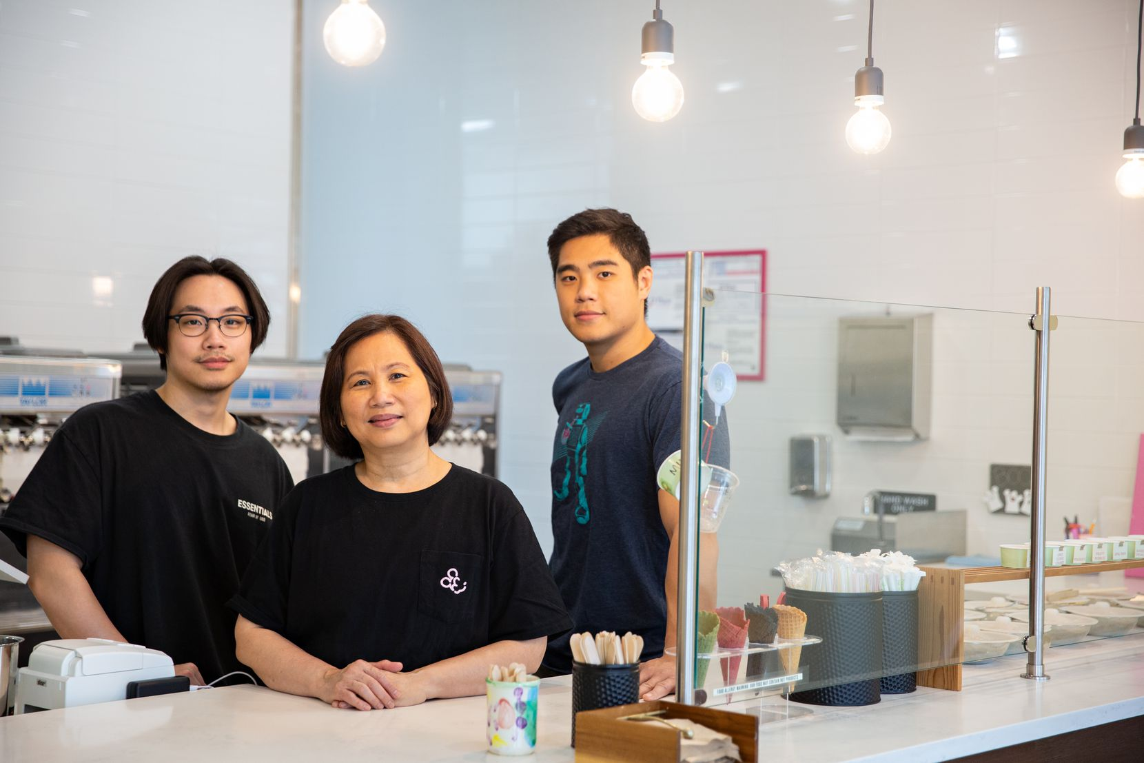 Lilis Pramasurja, founder and soft serve flavor connoisseur, works with her two sons Darien Wong and Andre Wong at Sugar Pine Creamery in Plano.