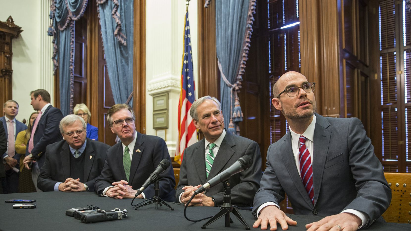 Paul Bettencourt, Lt. Gov. Dan Patrick, Gov. Greg Abbott, and Speaker Dennis Bonnen as well as chairmen for committees charged with studying property tax reforms spoke to the local news media  during  a press conference Thursday morning about tax reform in Texas.