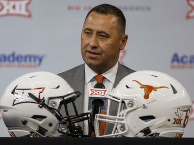 Texas head football coach Steve Sarkisian speaks during the Big 12 Conference Media Days at AT&T Stadium on Thursday, July 15, 2021, in Arlington.