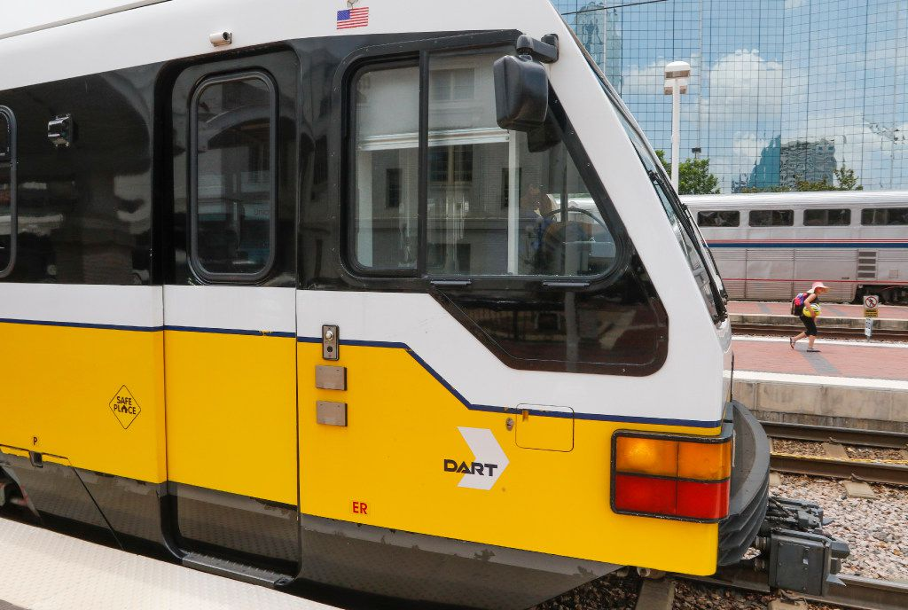 A DART Rail Red Line train pulls into Union Station in downtown Dallas.