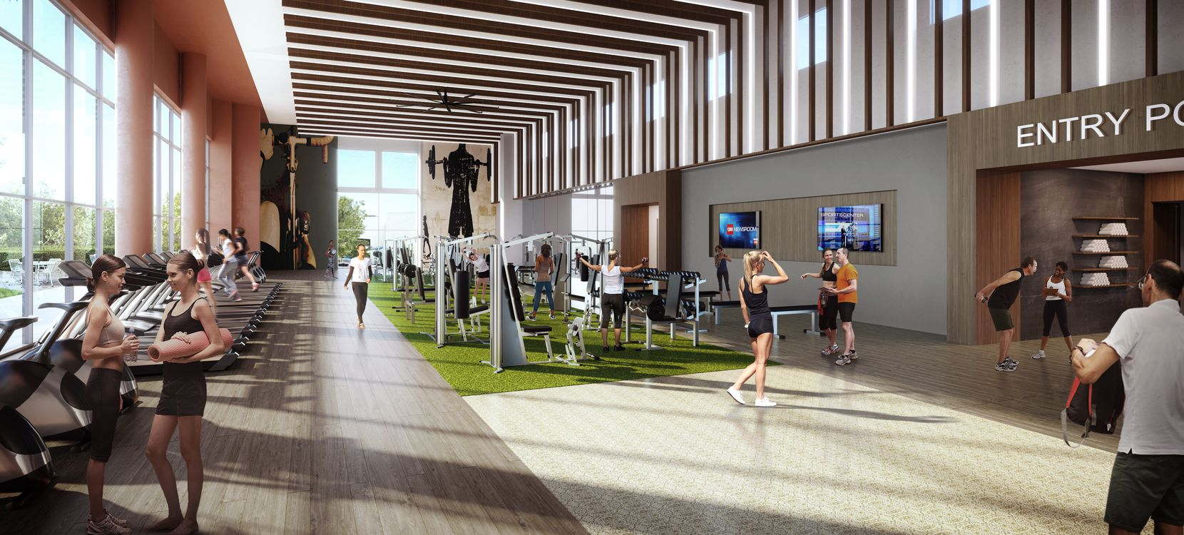 A new fitness center will include outdoor space.