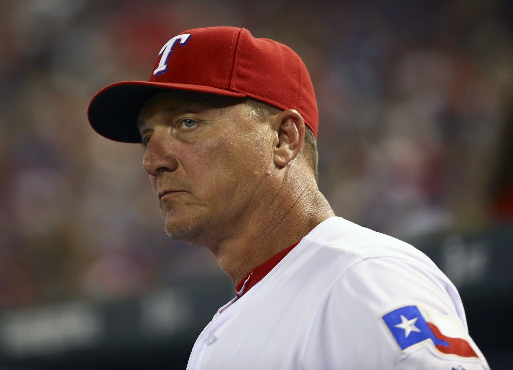 Sep 29, 2015; Arlington, TX, USA; Texas Rangers manager Jeff Banister (28) during the game against the Detroit Tigers at Globe Life Park in Arlington. Mandatory Credit: Kevin Jairaj-USA TODAY Sports
