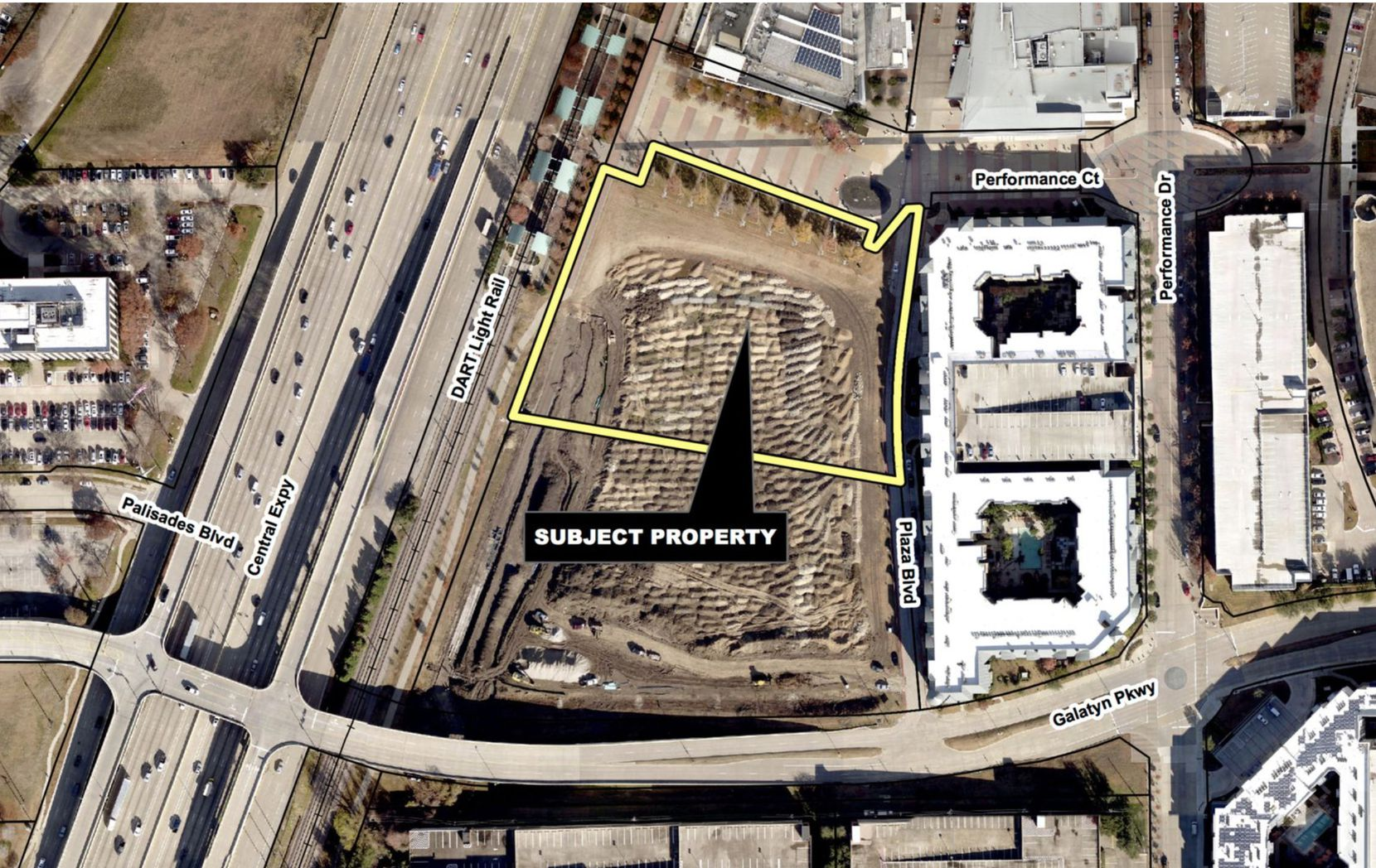 The Legacy Partners development site is between DART's Galatyn Park rail station and the Renaissance Hotel.