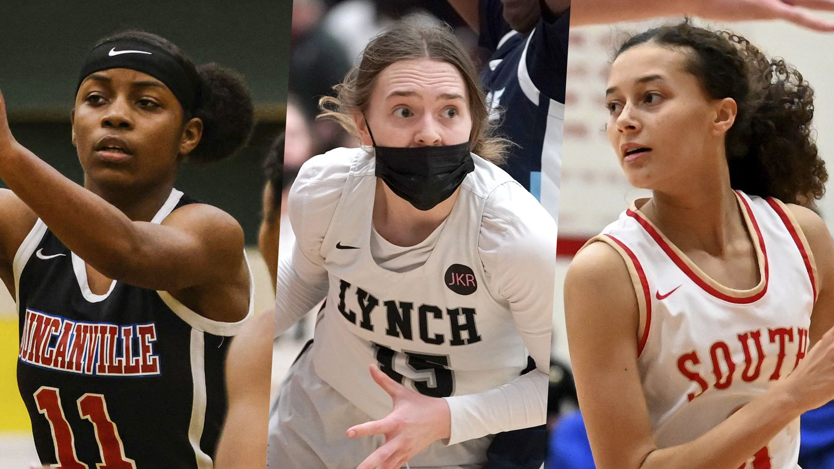 From left to right: Duncanville's Tristen Taylor. Bishop Lynch's Paige Bradley and South Grand Prairie's Kiara Jackson.