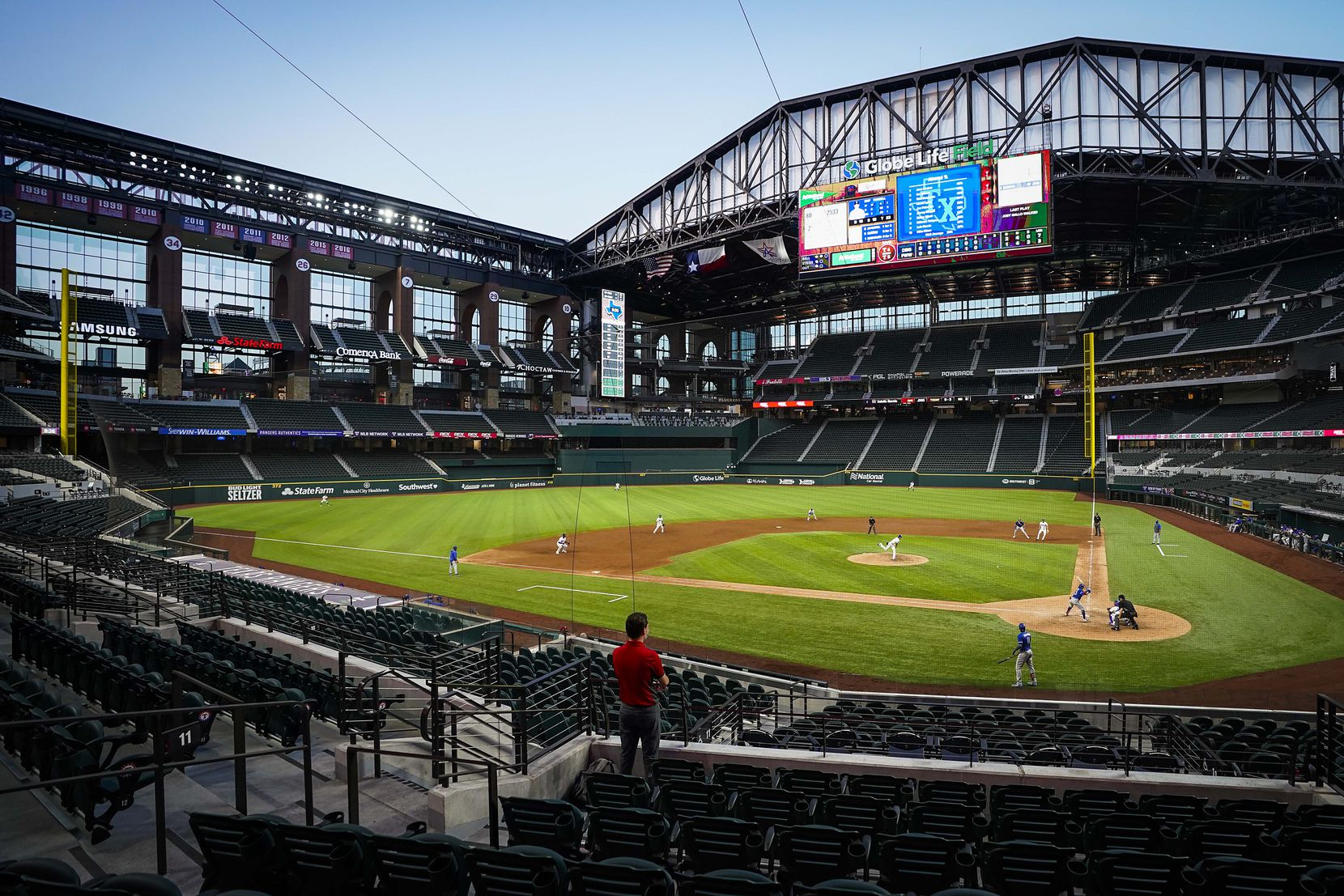 The retractable roof is open during a Texas Rangers Summer Camp intrasquad game during at Globe Life Field on Friday, July 17, 2020.