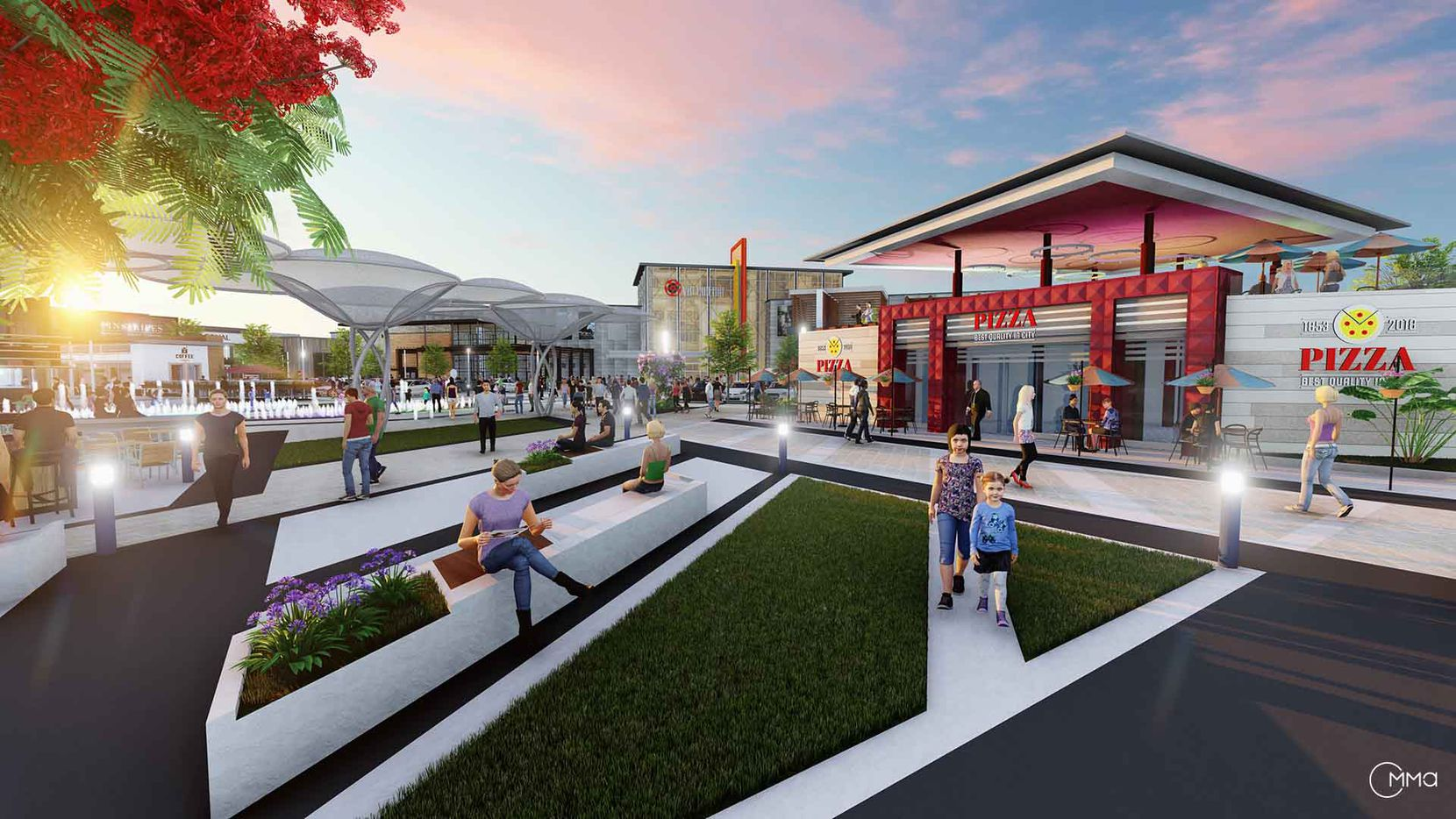 A conceptual rendering for a proposed Walmart Town Center in Garland