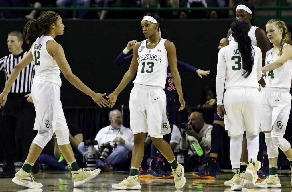 Mar 20, 2016; Waco, TX, USA; Baylor Bears forward Nina Davis (13) reacts after a made basket and one opportunity against the Auburn Tigers in the second round of the 2016 women's NCAA Tournament at Ferrell Center. Baylor won 84-52.  Mandatory Credit: Ray Carlin-USA TODAY Sports