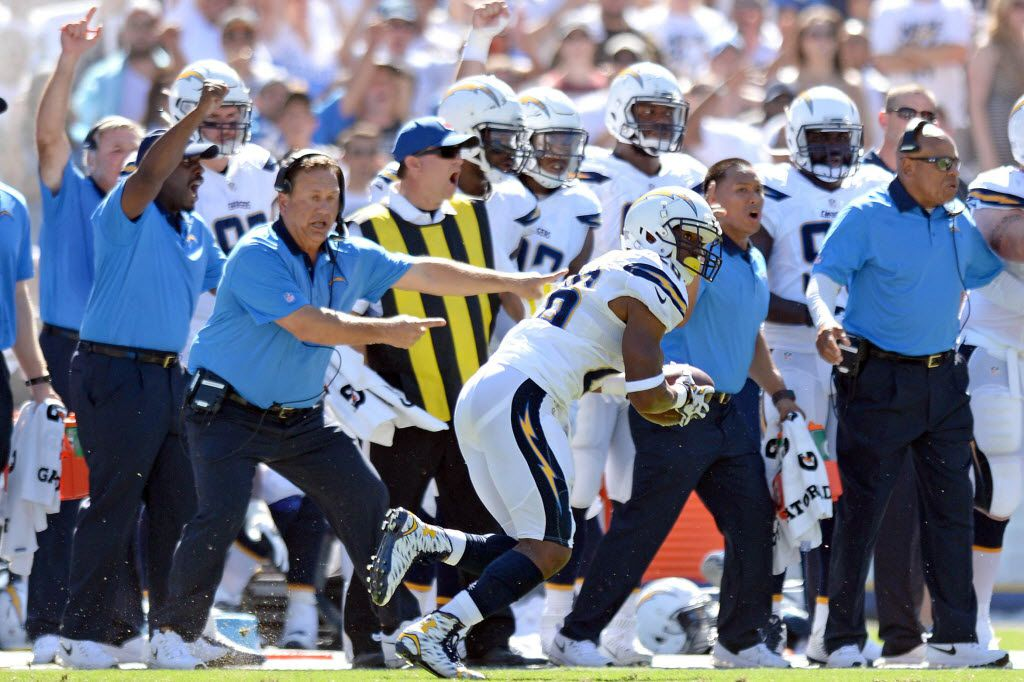 Sep 13, 2015; San Diego, CA, USA; San Diego Chargers defensive back Patrick Robinson (26) runs after making a third quarter interception against the Detroit Lions at Qualcomm Stadium. Mandatory Credit: Jake Roth-USA TODAY Sports ORG XMIT: USATSI-224466