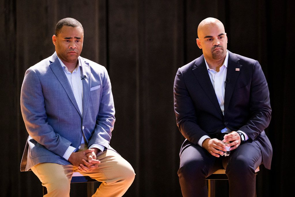 Congressman Marc Veasey and Congressman Colin Allred take questions during a joint town hall event at North Dallas High School on May 28, 2019, in Dallas.