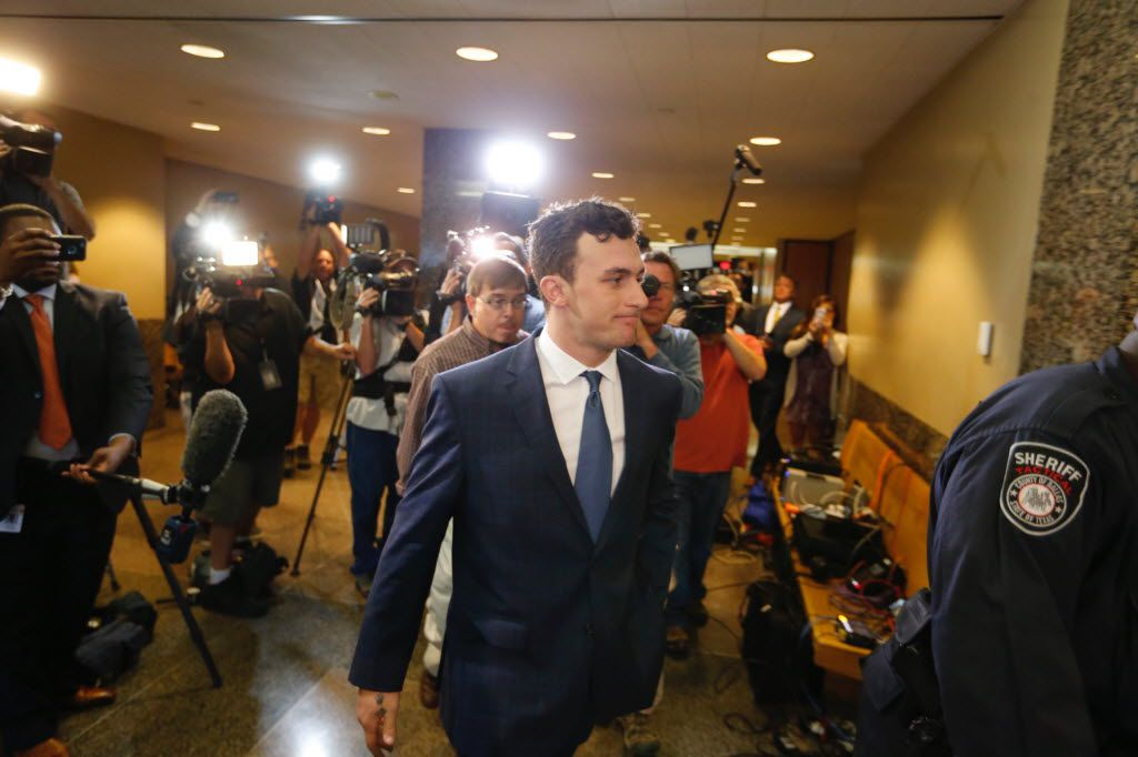 Former Texas A&M and Cleveland Browns quarterback Johnny Manziel makes a court appearance at the Frank Crowley Courts Building in Dallas on Thursday, May 5, 2016. Manziel reported to court Thursday for the first time since a Dallas County grand jury indicted him last month on a misdemeanor domestic violence charge. Former girlfriend Colleen Crowley has accused him of kidnapping, hitting and threatening to kill her in January. (Vernon Bryant/The Dallas Morning News)