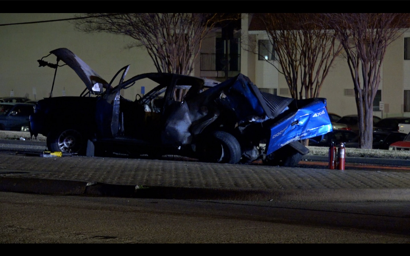 A car driven by a suspected drunken driver lies in ruins after it collided with a pickup at a high rate of speed Wednesday night in Haltom City. Despite the speed of the crash, only minor injuries were reported.