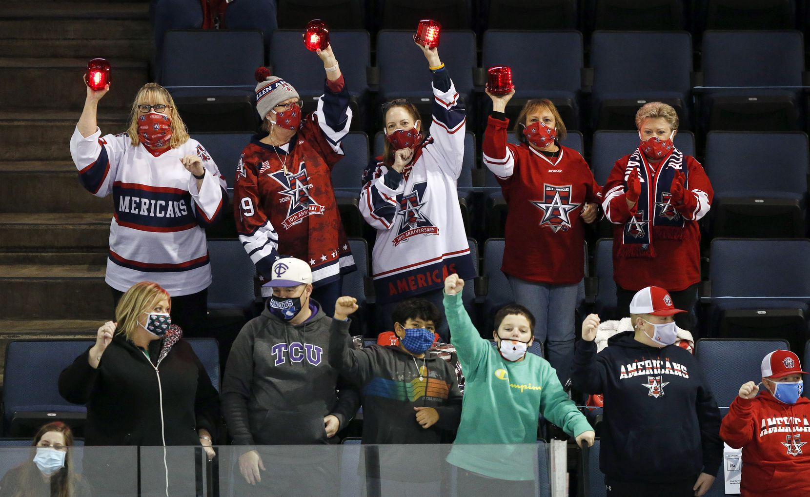 Allen Americans hockey fans celebrate a first period goal during their game against Rapid City Rush at the Allen Event Center in Allen, Texas, Friday, December 18, 2020. This is the first professional hockey game in the metroplex since March. (Tom Fox/The Dallas Morning News)